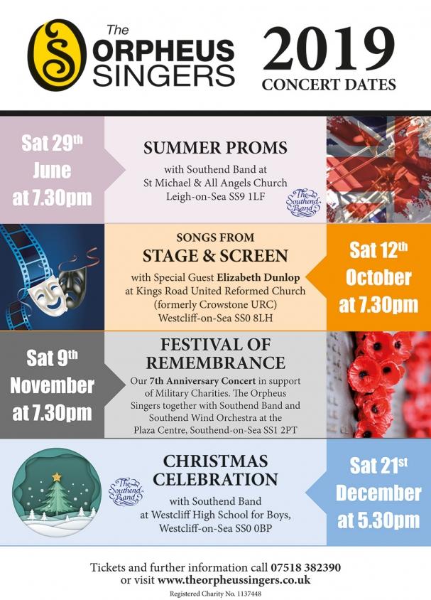 Orpheus Singers - A5 2019 calendar leaflet.indd